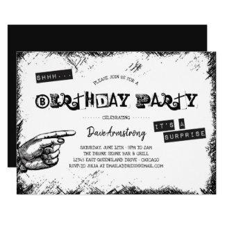 Grunge Black and White Surprise Birthday Party Karte