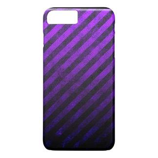 Grunge-gestreifter lila und schwarzer iPhone 8 plus/7 plus hülle