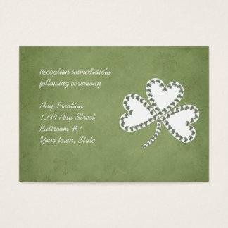 Grunge-Kleeblatt-irische Hochzeits-Empfangs-Karten Visitenkarte