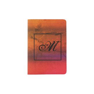 Grunge-Vintage Art-Farbe mit Monogramm Passhülle