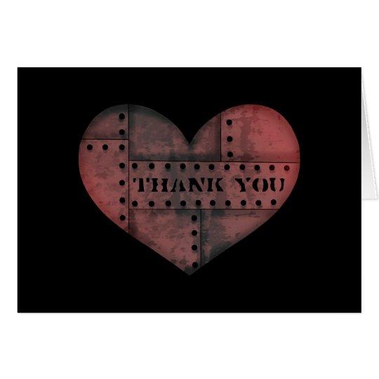 Grungy industrielles Punkherz danken Ihnen Mitteilungskarte