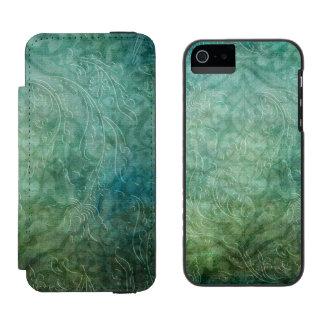 Grungy prägeartiger aquamariner blauer Damast Incipio Watson™ iPhone 5 Geldbörsen Hülle