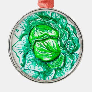 Grünkohl-Aquarell 2 Rundes Silberfarbenes Ornament