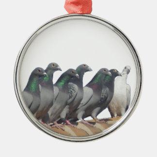 Gruppe der Brieftauben Silbernes Ornament