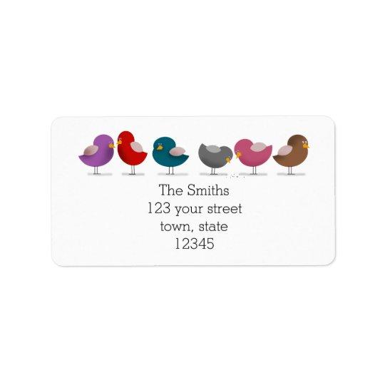 Gruppen-Vogel-Cartoon-Familien-Freund-einfaches Adressaufkleber