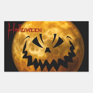 Gruseliger Mond-Halloween-Aufkleber Rechteckiger Aufkleber
