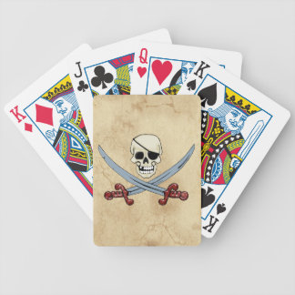Gruseliger Piraten-Schädel u. gekreuzte Macheten Bicycle Spielkarten