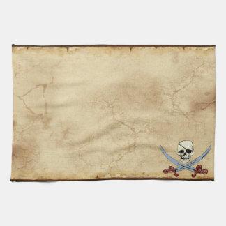 Gruseliger Piraten-Schädel u. gekreuzte Macheten Handtuch