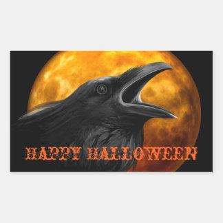 Gruseliger Rabe und Halloween-Mond Rechteckiger Aufkleber
