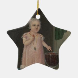 Gruseliges kleines Mädchen isst Süßigkeit Keramik Ornament
