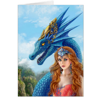 Gruß-Karte, blauer Drache Karte