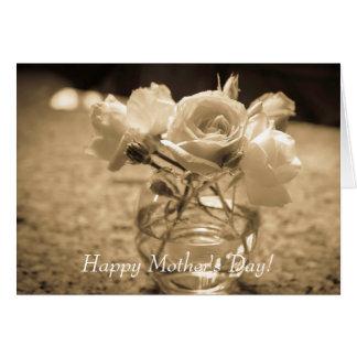 Gruß-Karte der Mutter Tagesmit weißen Rosen Karte