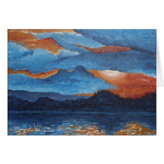Gruß-Karte -- Glühender Sonnenuntergang in See Karte