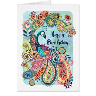 Gruß-Karte Pfau-alles- Gute zum Geburtstag| Karte