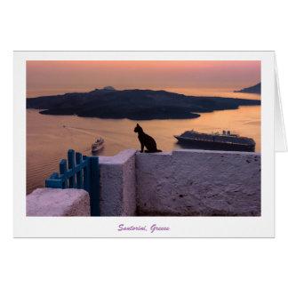 Gruß-Karte - Santorini Katze am Sonnenuntergang Grußkarte