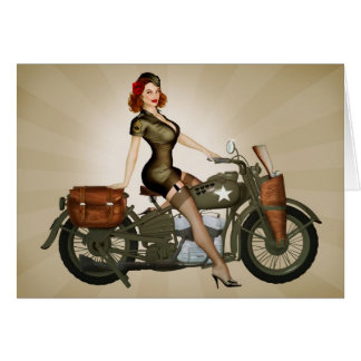 Gruß-Karte Sergeant-Davidson Motorcycle Pinup Karte