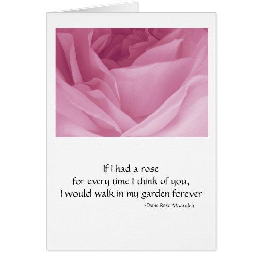 Gruß-Karten-Rosa-Rose mit Zitat Karte