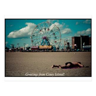 Grüße von Coney Island! Postkarte
