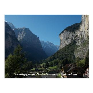 Grüße von Lauterbrunnen, die Schweiz 1 Postkarte