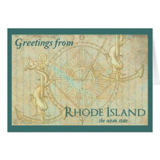 Grüße von Rhode Island der Ozean-Staat Karte