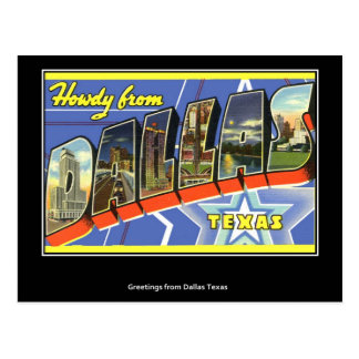 Grüße von Vintager Postkarte Dallas