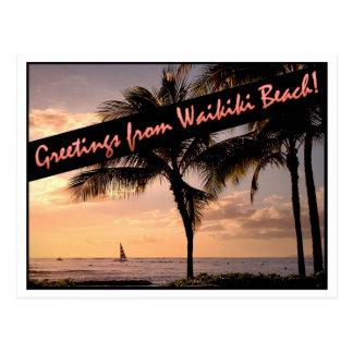 Grüße von Waikiki Strand! Postkarte