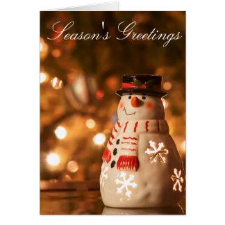 Grußfeiertags-Schneemannkarte der Jahreszeit Karte