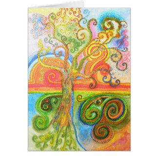 Grußkarte mit psychedelischem Baum-Entwurf