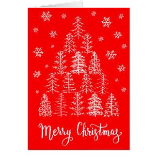 Grußkartenhand der frohen Weihnachten gezeichnet Karte