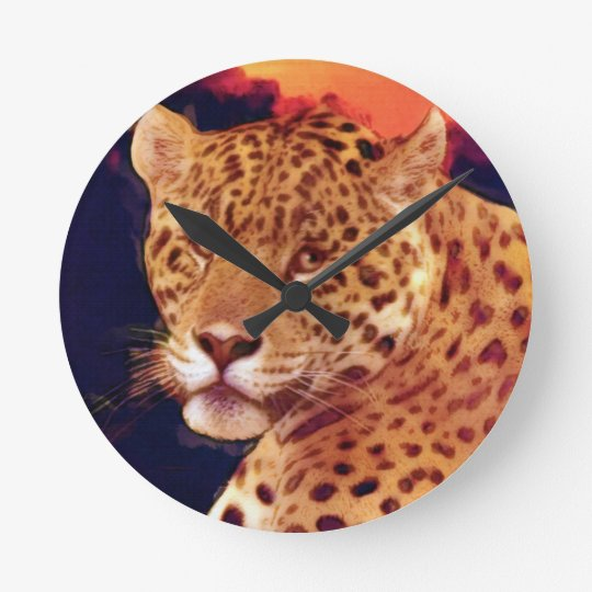 Guatemalteke-Jaguar-Tier-Wanduhr Runde Wanduhr