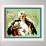 Guerre mondiale vintage de ~ d'affiche d'infirmièr