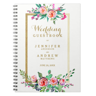 Guestbook floral de mariage de rose chic élégant carnet