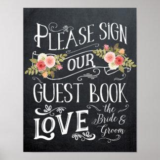 Guestbookhochzeits-Zeichentypographie mit Blumen Poster