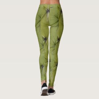 Guêtres vertes d'impression de piqûres de cactus leggings
