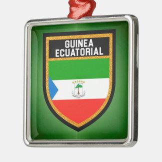 Guinea Ecuatorial Flagge Silbernes Ornament