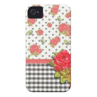 Guingan noir avec les roses rouges et les points coques iPhone 4