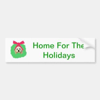 Guirlande de Noël de vacances de cocker Autocollant De Voiture
