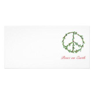 Guirlande de paix de Noël de carte photo, paix sur Photocarte