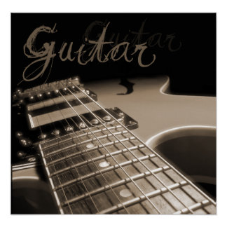 Guitare électrique 2 d'impression de toile - Brown Posters