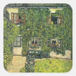 Gustav Klimt - das Haus von Guardaboschi Quadratischer Aufkleber