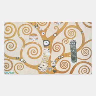 Gustav Klimt der Baum der Leben-Kunst Nouveau Rechteckiger Aufkleber