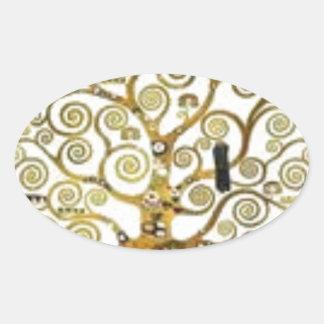 Gustav Klimt - der Baum der Lebenmalerei Ovaler Aufkleber