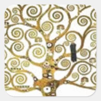 Gustav Klimt - der Baum der Lebenmalerei Quadratischer Aufkleber