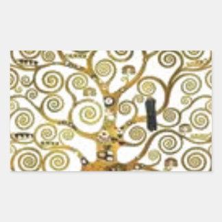 Gustav Klimt - der Baum der Lebenmalerei Rechteckiger Aufkleber