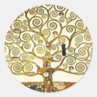 Gustav Klimt - der Baum der Lebenmalerei Runder Aufkleber