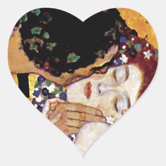 Gustav Klimt - der Kuss - Vintage Kunst Nouveau Herz-Aufkleber