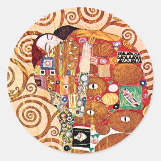 Gustav Klimt - die Umarmung - Kunst-Malerei Runder Aufkleber