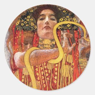 Gustav Klimt - Hygieia Medizin-Göttin der Runder Aufkleber
