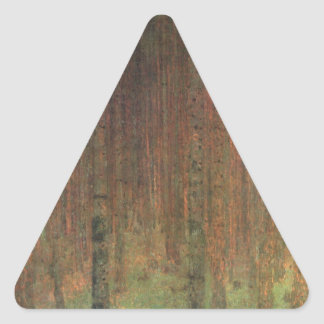 Gustav Klimt - Kiefern-Wald Dreieckiger Aufkleber