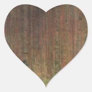 Gustav Klimt - Kiefern-Wald Herz-Aufkleber